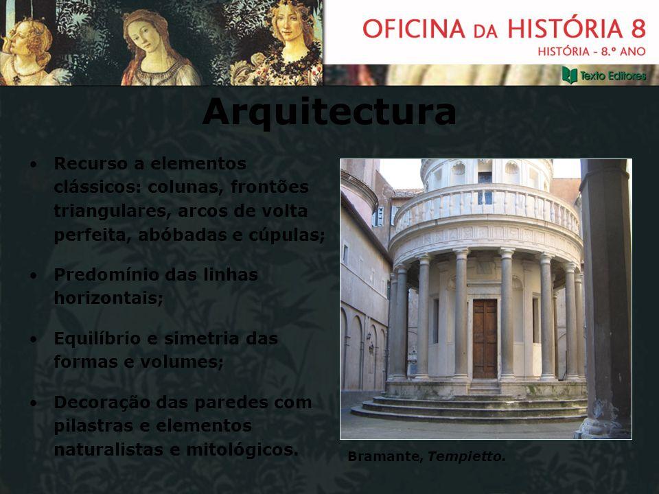 Arquitectura Recurso a elementos clássicos: colunas, frontões triangulares, arcos de volta perfeita, abóbadas e cúpulas; Predomínio das linhas horizon