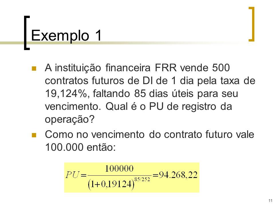 11 Exemplo 1 A instituição financeira FRR vende 500 contratos futuros de DI de 1 dia pela taxa de 19,124%, faltando 85 dias úteis para seu vencimento.