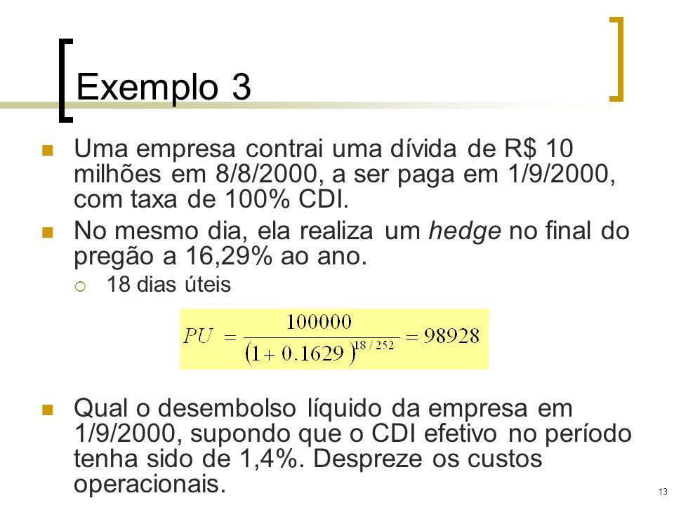 13 Exemplo 3 Uma empresa contrai uma dívida de R$ 10 milhões em 8/8/2000, a ser paga em 1/9/2000, com taxa de 100% CDI. No mesmo dia, ela realiza um h