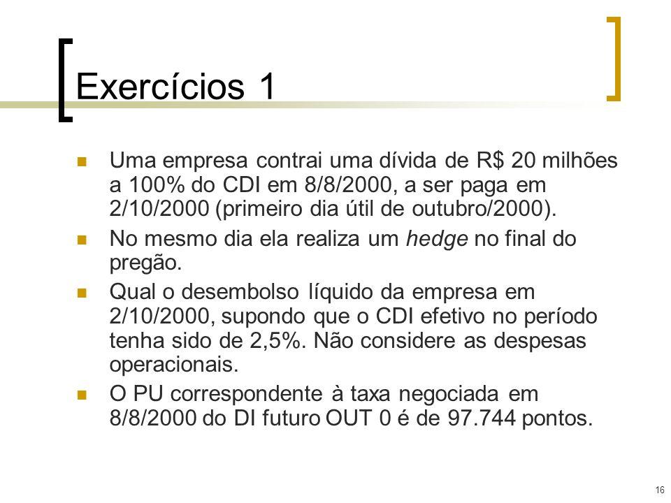 16 Exercícios 1 Uma empresa contrai uma dívida de R$ 20 milhões a 100% do CDI em 8/8/2000, a ser paga em 2/10/2000 (primeiro dia útil de outubro/2000)