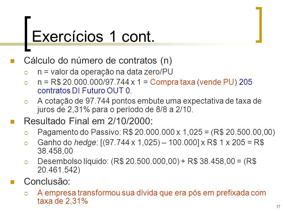 17 Exercícios 1 cont. Cálculo do número de contratos (n) n = valor da operação na data zero/PU n = R$ 20.000.000/97.744 x 1 = Compra taxa (vende PU) 2