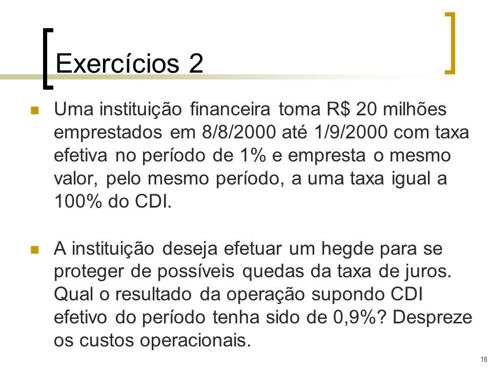 18 Exercícios 2 Uma instituição financeira toma R$ 20 milhões emprestados em 8/8/2000 até 1/9/2000 com taxa efetiva no período de 1% e empresta o mesm