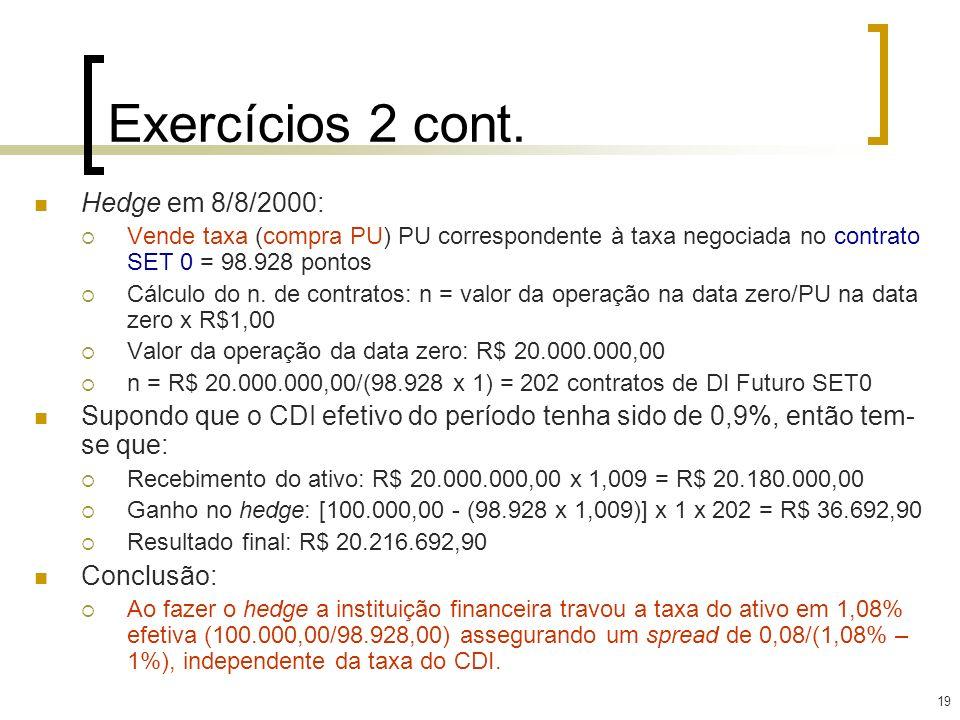 19 Exercícios 2 cont. Hedge em 8/8/2000: Vende taxa (compra PU) PU correspondente à taxa negociada no contrato SET 0 = 98.928 pontos Cálculo do n. de