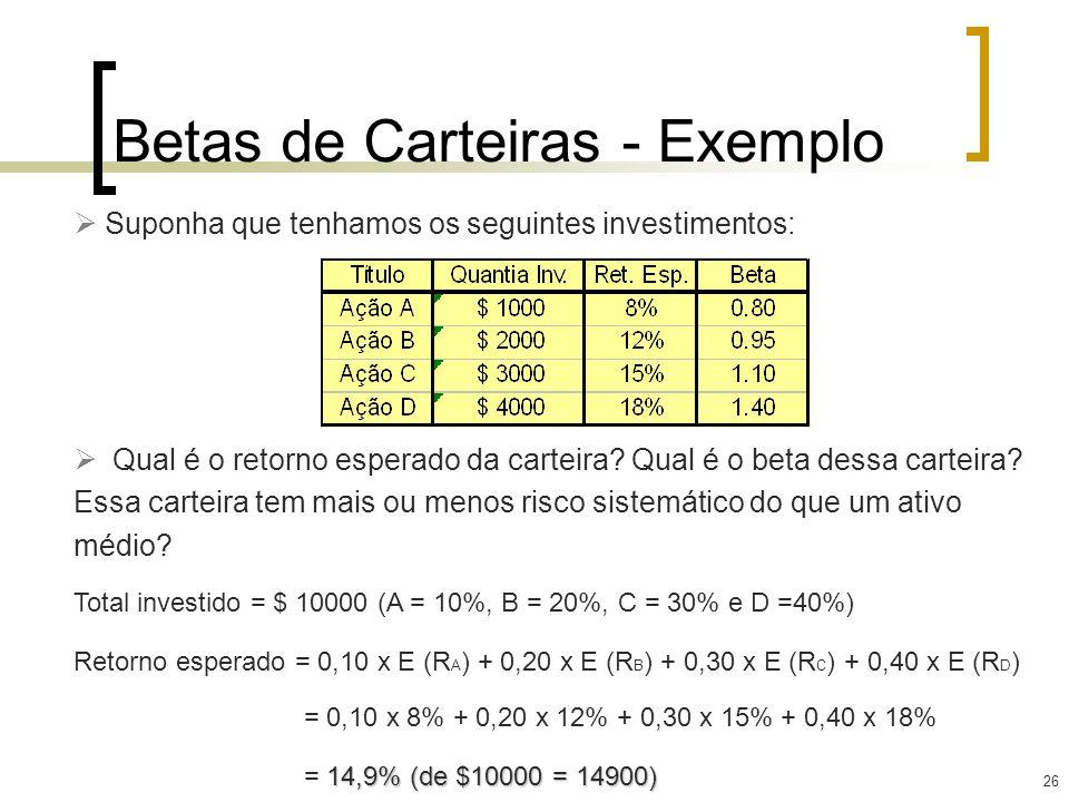 26 Betas de Carteiras - Exemplo Suponha que tenhamos os seguintes investimentos: Qual é o retorno esperado da carteira? Qual é o beta dessa carteira?