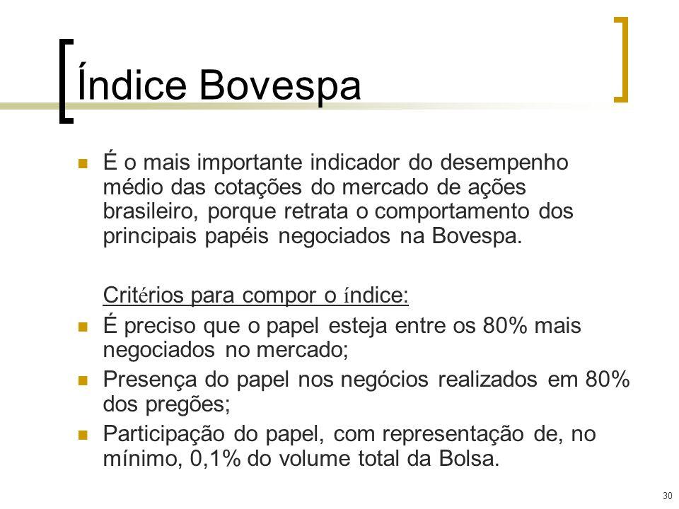 30 Índice Bovespa É o mais importante indicador do desempenho médio das cotações do mercado de ações brasileiro, porque retrata o comportamento dos pr