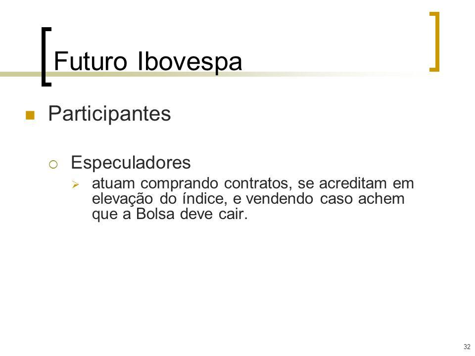 32 Futuro Ibovespa Participantes Especuladores atuam comprando contratos, se acreditam em elevação do índice, e vendendo caso achem que a Bolsa deve c