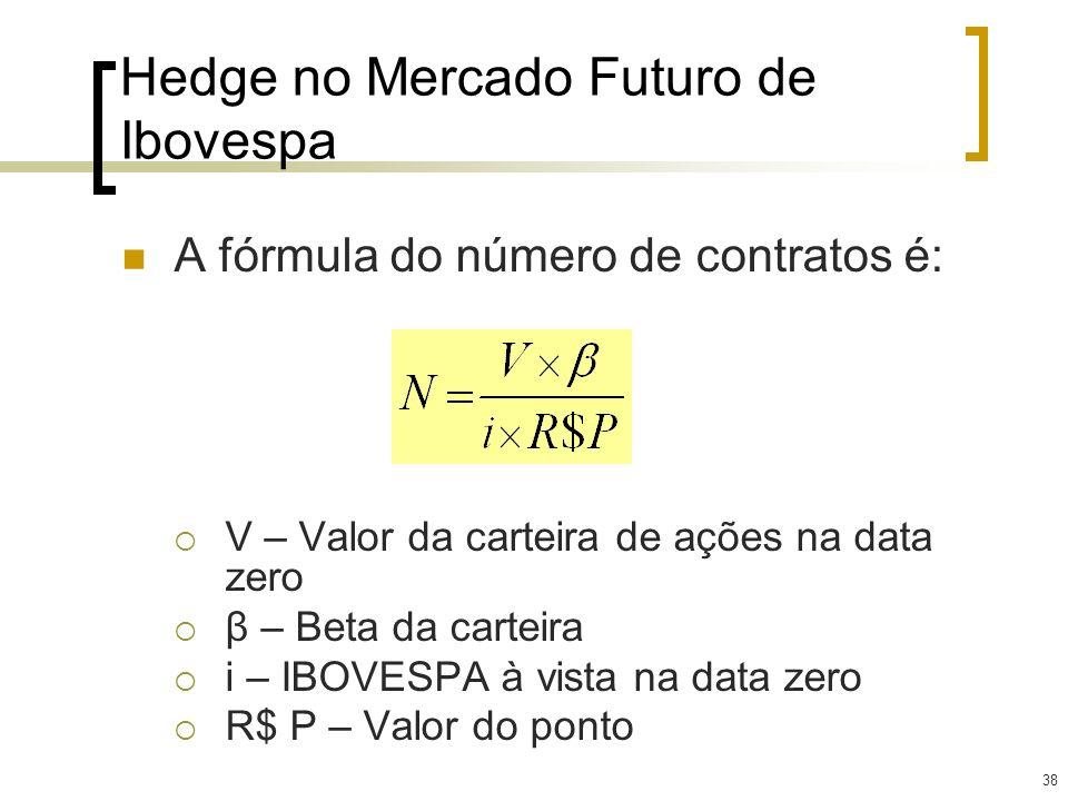 38 Hedge no Mercado Futuro de Ibovespa A fórmula do número de contratos é: V – Valor da carteira de ações na data zero β – Beta da carteira i – IBOVES