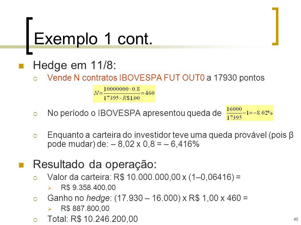 40 Exemplo 1 cont. Hedge em 11/8: Vende N contratos IBOVESPA FUT OUT0 a 17930 pontos No período o IBOVESPA apresentou queda de Enquanto a carteira do