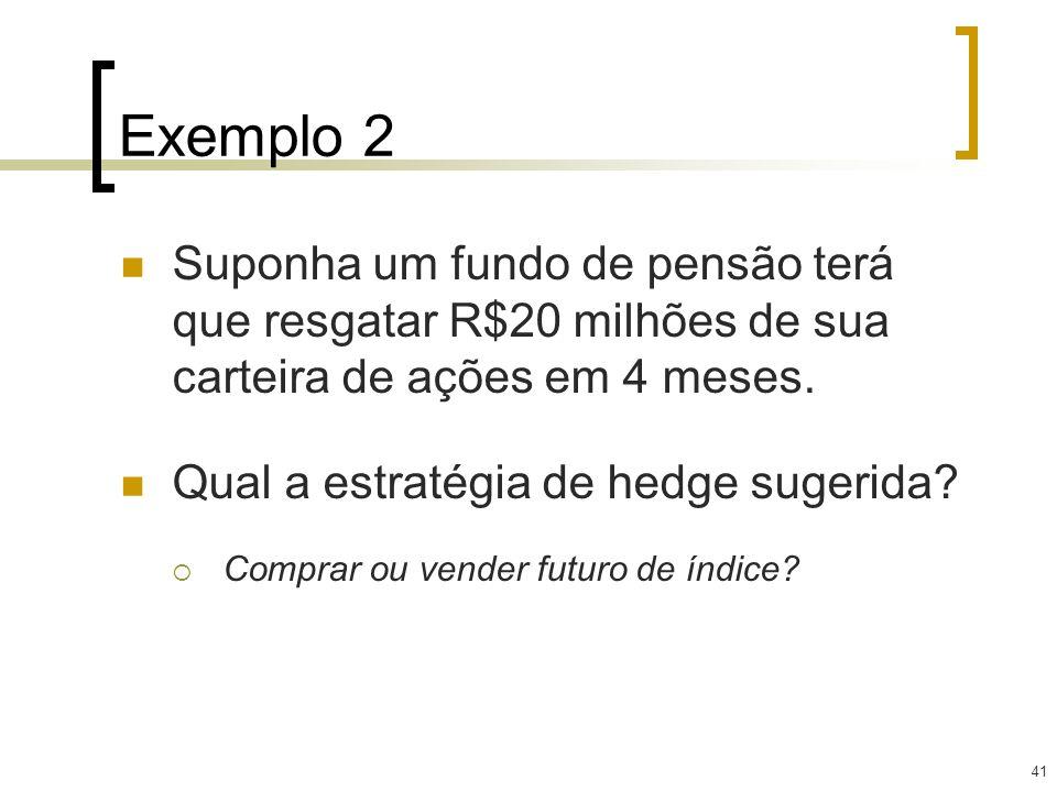 41 Exemplo 2 Suponha um fundo de pensão terá que resgatar R$20 milhões de sua carteira de ações em 4 meses. Qual a estratégia de hedge sugerida? Compr