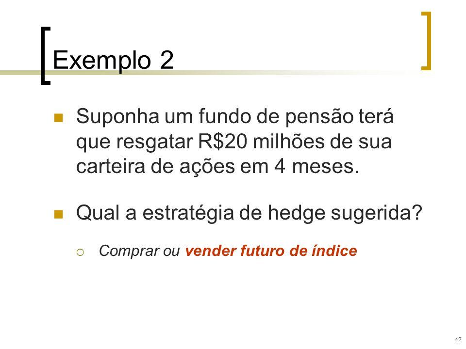 42 Exemplo 2 Suponha um fundo de pensão terá que resgatar R$20 milhões de sua carteira de ações em 4 meses. Qual a estratégia de hedge sugerida? Compr