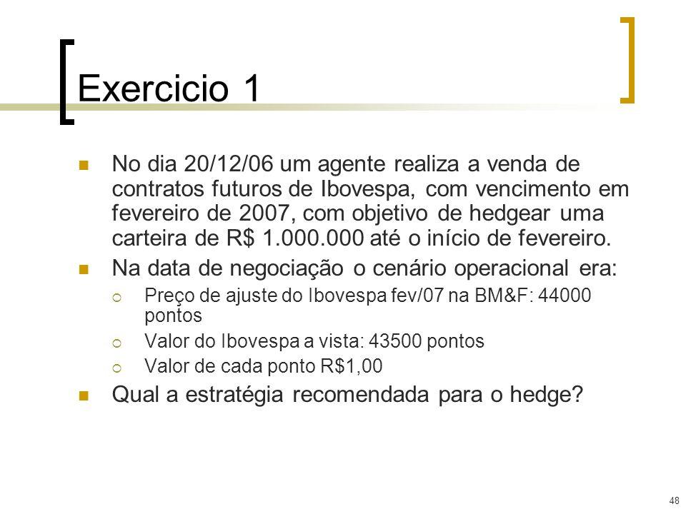 48 Exercicio 1 No dia 20/12/06 um agente realiza a venda de contratos futuros de Ibovespa, com vencimento em fevereiro de 2007, com objetivo de hedgea