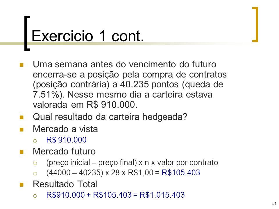 51 Exercicio 1 cont. Uma semana antes do vencimento do futuro encerra-se a posição pela compra de contratos (posição contrária) a 40.235 pontos (queda