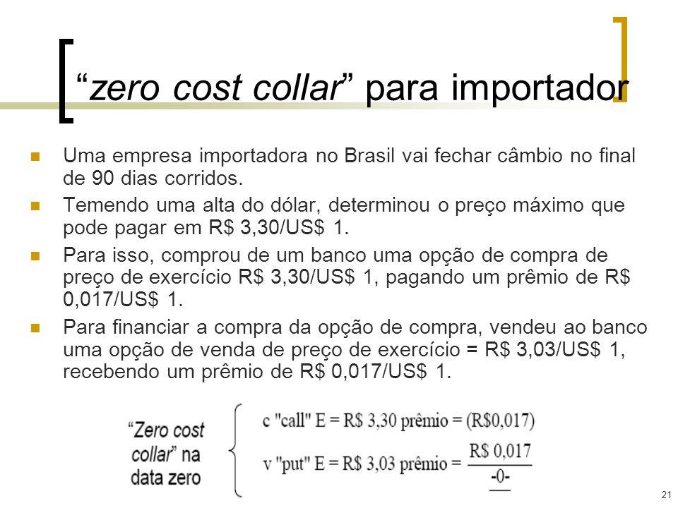 21 zero cost collar para importador Uma empresa importadora no Brasil vai fechar câmbio no final de 90 dias corridos. Temendo uma alta do dólar, deter
