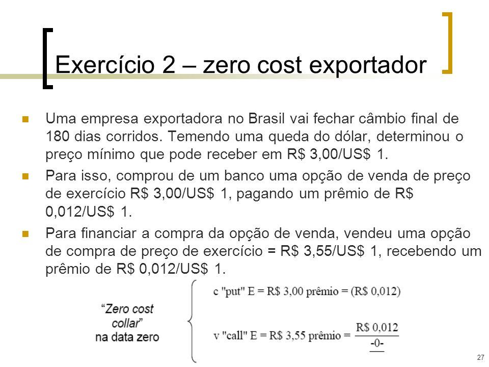 27 Exercício 2 – zero cost exportador Uma empresa exportadora no Brasil vai fechar câmbio final de 180 dias corridos. Temendo uma queda do dólar, dete