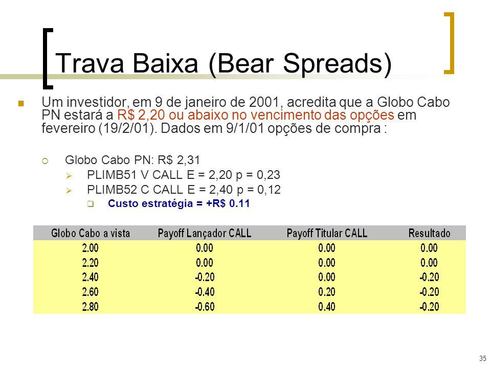 35 Um investidor, em 9 de janeiro de 2001, acredita que a Globo Cabo PN estará a R$ 2,20 ou abaixo no vencimento das opções em fevereiro (19/2/01). Da