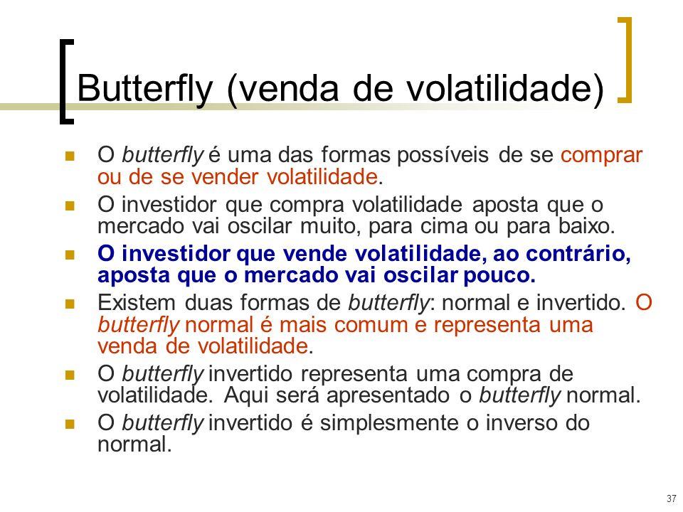 37 Butterfly (venda de volatilidade) O butterfly é uma das formas possíveis de se comprar ou de se vender volatilidade. O investidor que compra volati