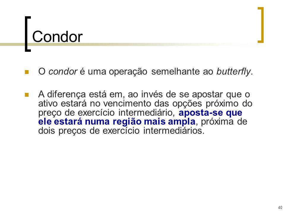 40 Condor O condor é uma operação semelhante ao butterfly. A diferença está em, ao invés de se apostar que o ativo estará no vencimento das opções pró
