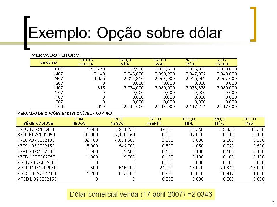 6 Exemplo: Opção sobre dólar Dólar comercial venda (17 abril 2007) =2,0346