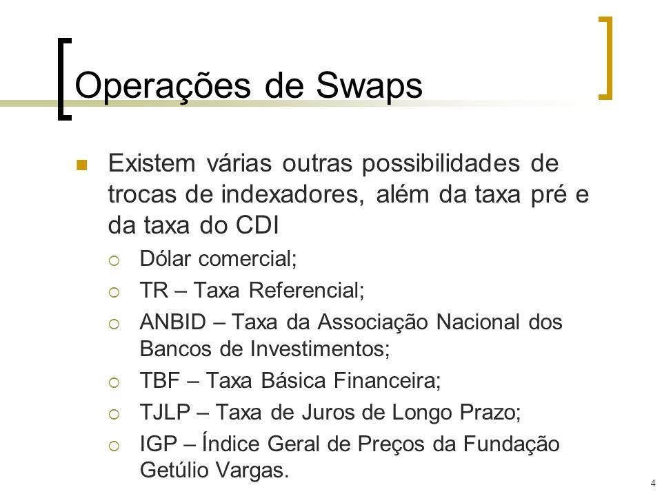 4 Operações de Swaps Existem várias outras possibilidades de trocas de indexadores, além da taxa pré e da taxa do CDI Dólar comercial; TR – Taxa Refer