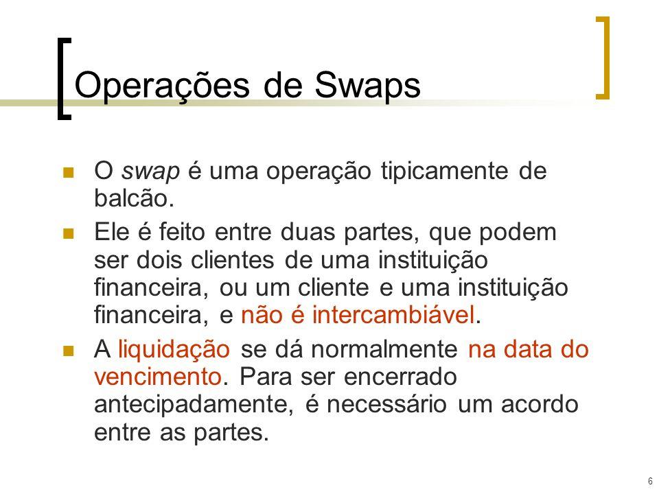 6 Operações de Swaps O swap é uma operação tipicamente de balcão. Ele é feito entre duas partes, que podem ser dois clientes de uma instituição financ