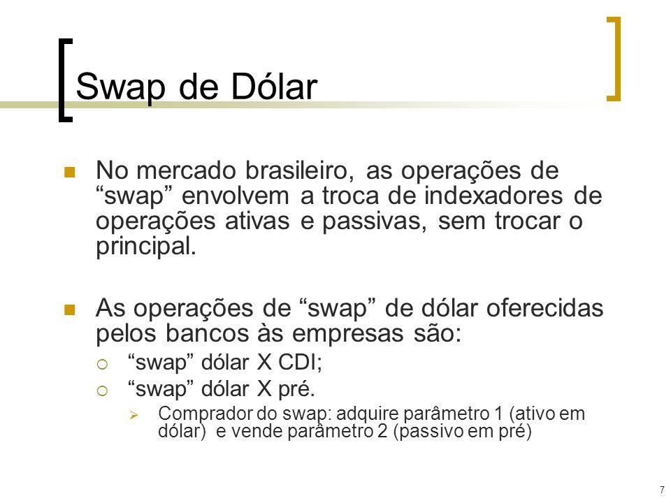 7 Swap de Dólar No mercado brasileiro, as operações de swap envolvem a troca de indexadores de operações ativas e passivas, sem trocar o principal. As