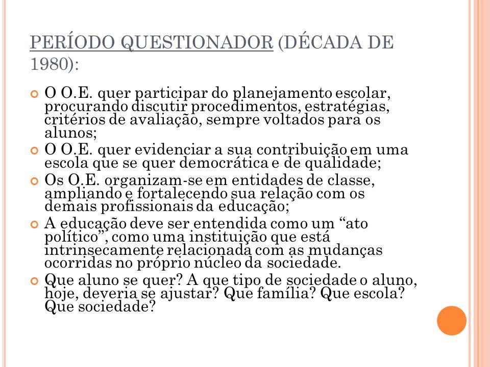 PERÍODO QUESTIONADOR (DÉCADA DE 1980): O O.E.