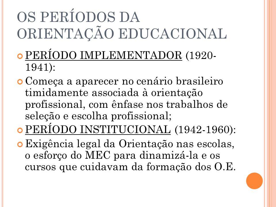 OS PERÍODOS DA ORIENTAÇÃO EDUCACIONAL PERÍODO IMPLEMENTADOR (1920- 1941): Começa a aparecer no cenário brasileiro timidamente associada à orientação profissional, com ênfase nos trabalhos de seleção e escolha profissional; PERÍODO INSTITUCIONAL (1942-1960): Exigência legal da Orientação nas escolas, o esforço do MEC para dinamizá-la e os cursos que cuidavam da formação dos O.E.