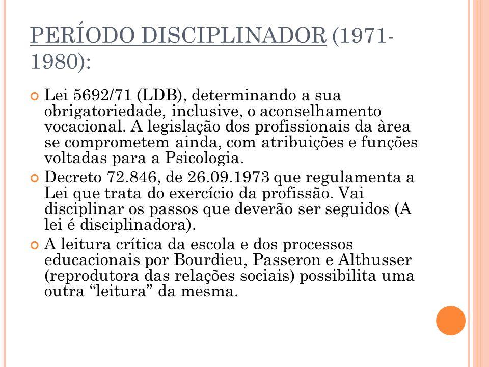 PERÍODO DISCIPLINADOR (1971- 1980): Lei 5692/71 (LDB), determinando a sua obrigatoriedade, inclusive, o aconselhamento vocacional.