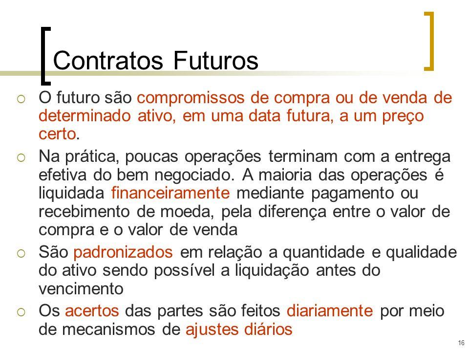 16 Contratos Futuros O futuro são compromissos de compra ou de venda de determinado ativo, em uma data futura, a um preço certo. Na prática, poucas op