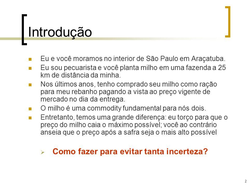 2 Introdução Eu e você moramos no interior de São Paulo em Araçatuba. Eu sou pecuarista e você planta milho em uma fazenda a 25 km de distância da min