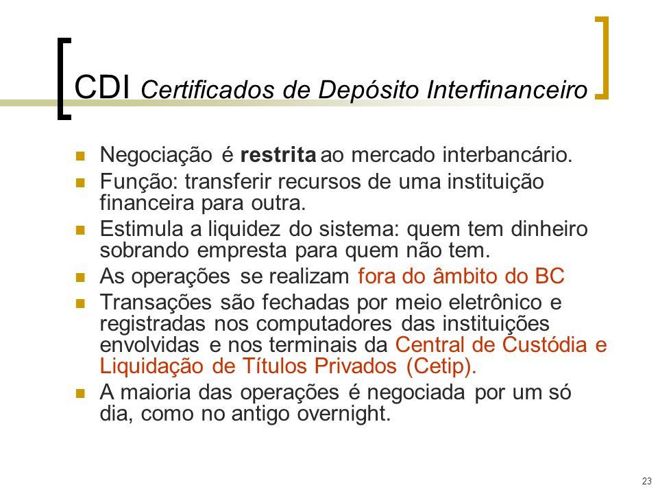 23 CDI Certificados de Depósito Interfinanceiro Negociação é restrita ao mercado interbancário. Função: transferir recursos de uma instituição finance