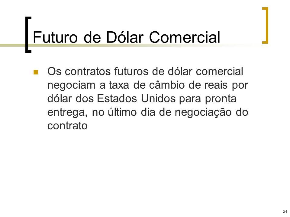 24 Futuro de Dólar Comercial Os contratos futuros de dólar comercial negociam a taxa de câmbio de reais por dólar dos Estados Unidos para pronta entre