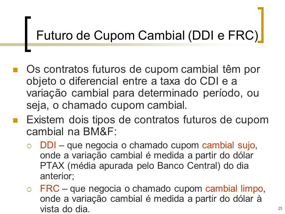 25 Futuro de Cupom Cambial (DDI e FRC) Os contratos futuros de cupom cambial têm por objeto o diferencial entre a taxa do CDI e a variação cambial par