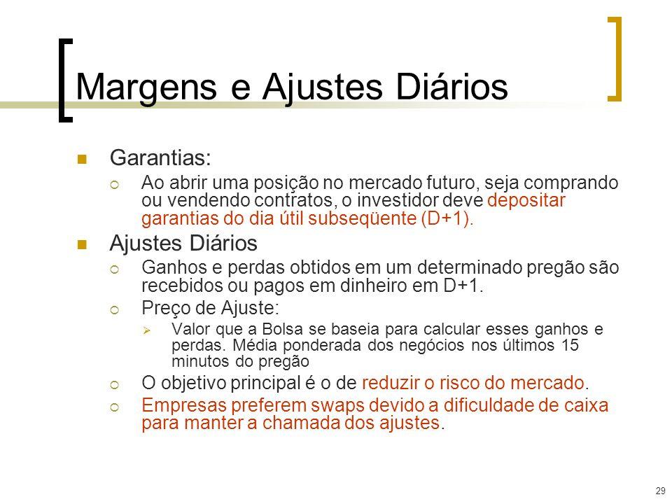 29 Margens e Ajustes Diários Garantias: Ao abrir uma posição no mercado futuro, seja comprando ou vendendo contratos, o investidor deve depositar gara