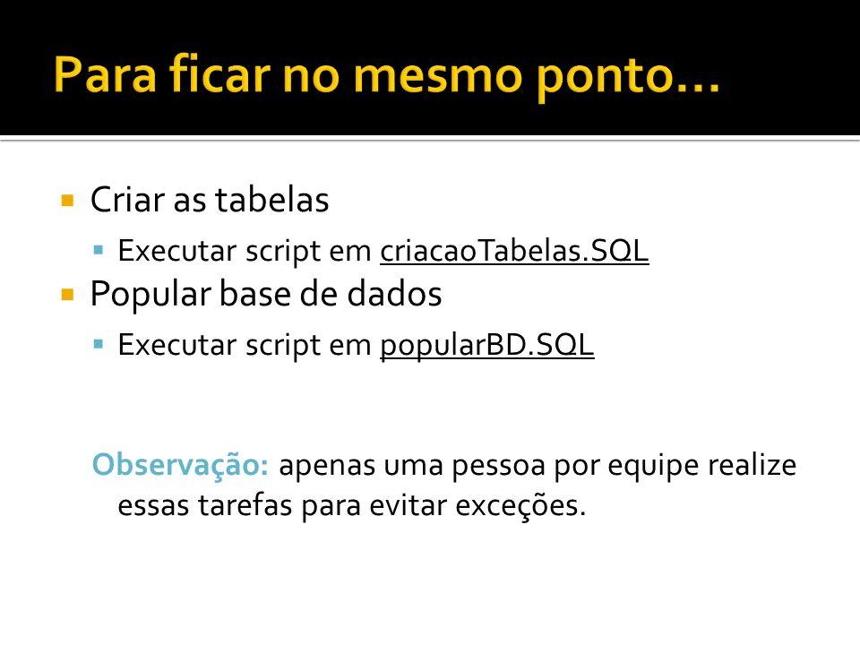 Criar as tabelas Executar script em criacaoTabelas.SQL Popular base de dados Executar script em popularBD.SQL Observação: apenas uma pessoa por equipe