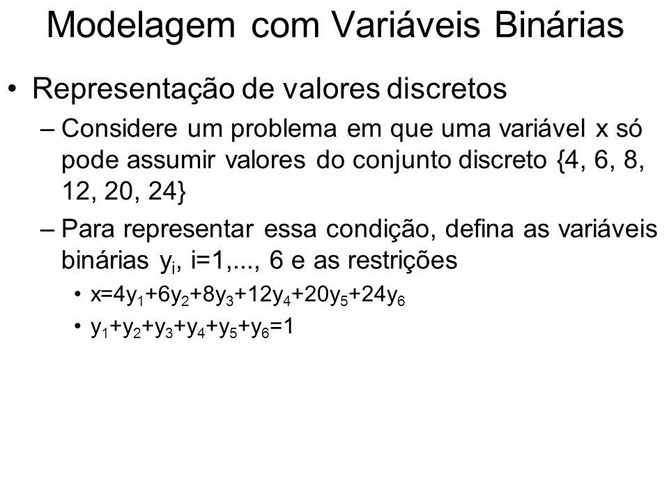 Modelagem com Variáveis Binárias Representação de valores discretos –Considere um problema em que uma variável x só pode assumir valores do conjunto d