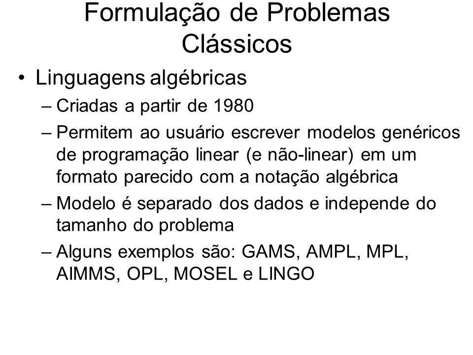 Formulação de Problemas Clássicos Linguagens algébricas –Criadas a partir de 1980 –Permitem ao usuário escrever modelos genéricos de programação linea