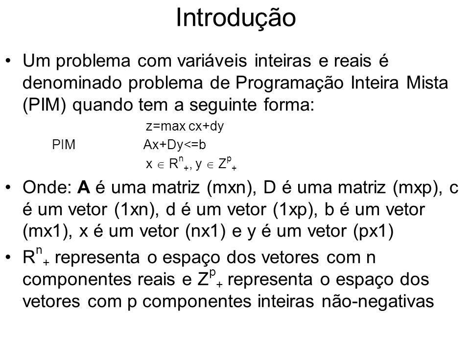 Introdução Um problema com variáveis inteiras e reais é denominado problema de Programação Inteira Mista (PIM) quando tem a seguinte forma: z=max cx+d