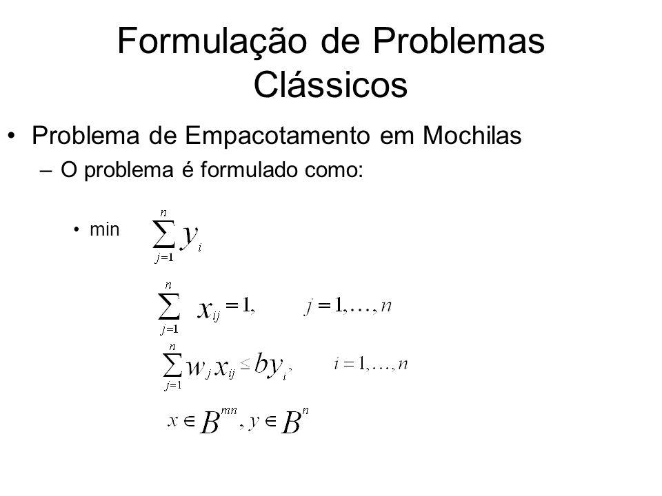 Formulação de Problemas Clássicos Problema de Empacotamento em Mochilas –O problema é formulado como: min