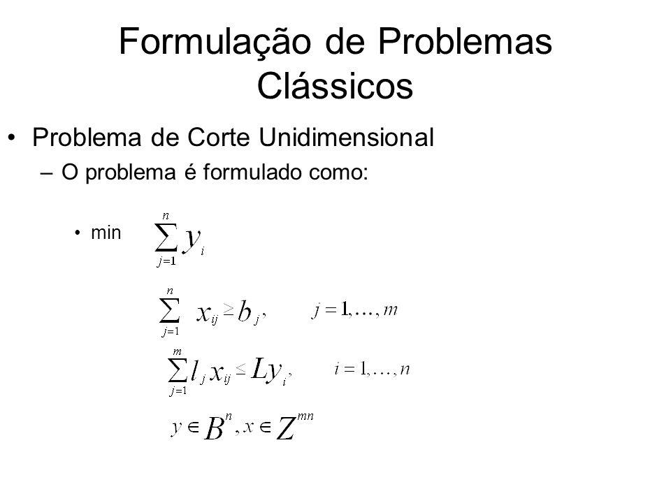 Formulação de Problemas Clássicos Problema de Corte Unidimensional –O problema é formulado como: min