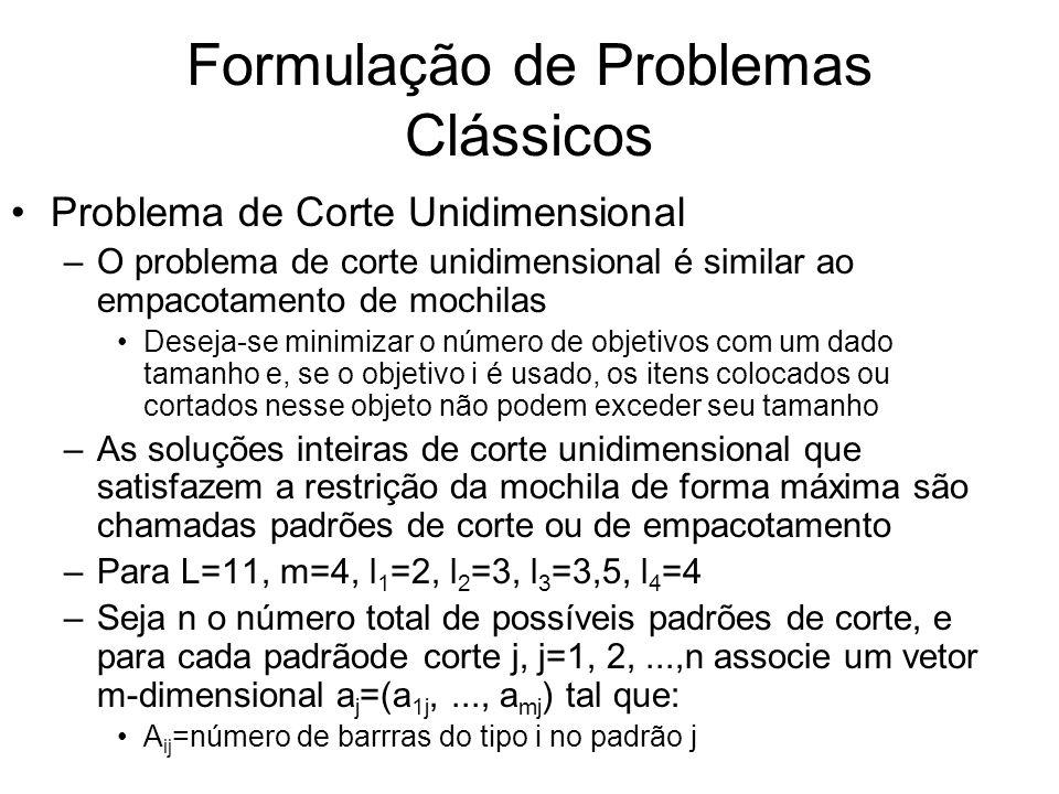 Formulação de Problemas Clássicos Problema de Corte Unidimensional –O problema de corte unidimensional é similar ao empacotamento de mochilas Deseja-s
