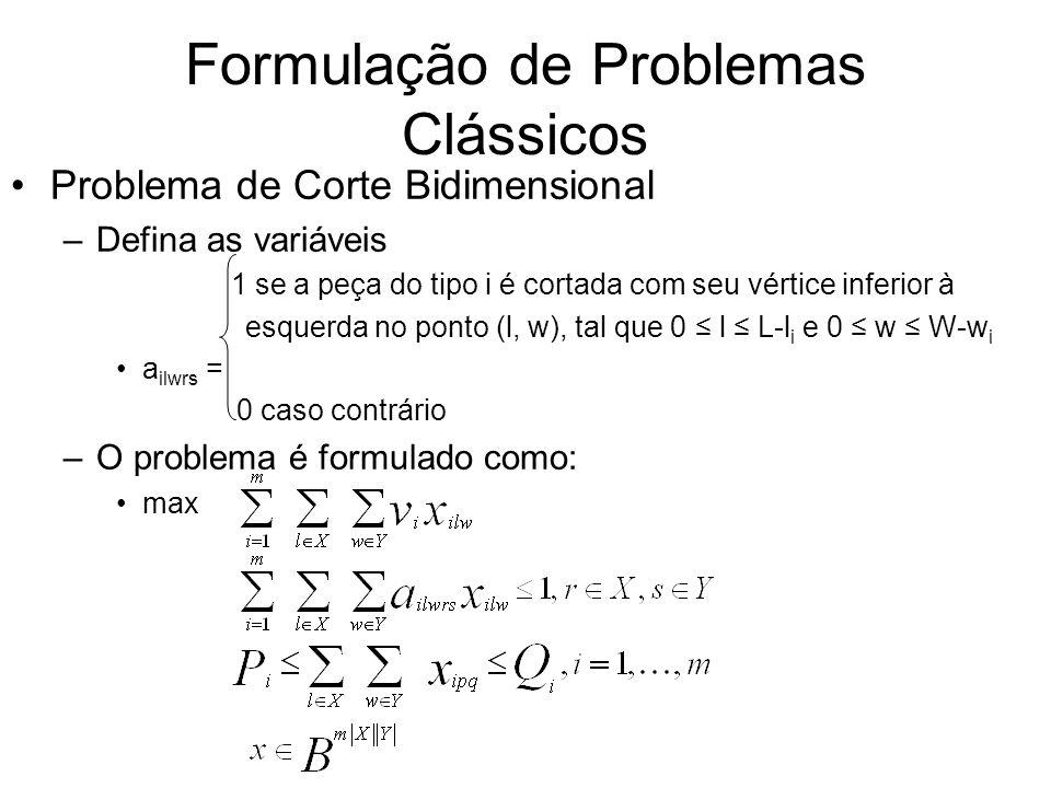 Formulação de Problemas Clássicos Problema de Corte Bidimensional –Defina as variáveis 1 se a peça do tipo i é cortada com seu vértice inferior à esqu