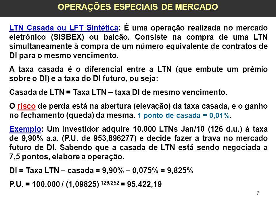 8 OPERAÇÕES ESPECIAIS DE MERCADO Financeiro da LTN = 10.000 * 953,896277 = 9.538.962,77 (1) Contratos de DI comprados = 9.538.962,77 / 95.422,19 = 99,97 = 100 Financeiro = 100 * 95.422,19 = 9.542.219,00 (2) Se a casada subir para 10 pontos: Suponha que a taxa da LTN seja de 9,88% Novo P.U.