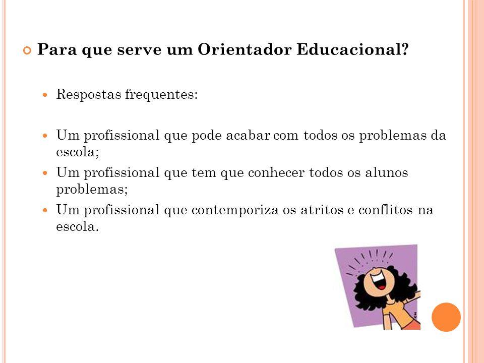Para que serve um Orientador Educacional? Respostas frequentes: Um profissional que pode acabar com todos os problemas da escola; Um profissional que