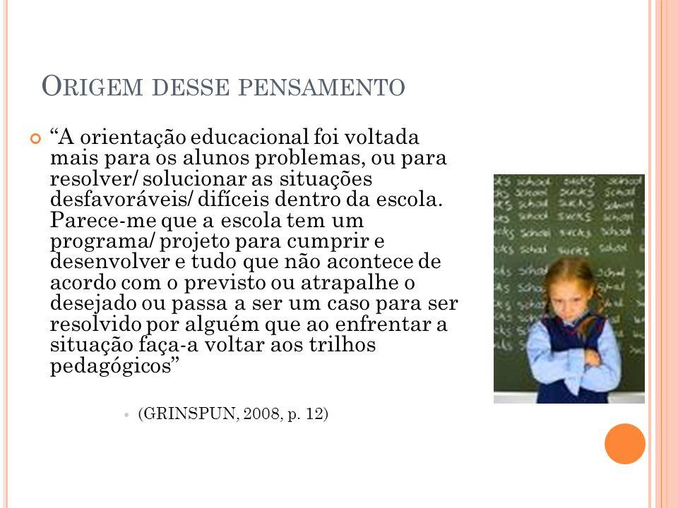 O RIGEM DESSE PENSAMENTO A orientação educacional foi voltada mais para os alunos problemas, ou para resolver/ solucionar as situações desfavoráveis/
