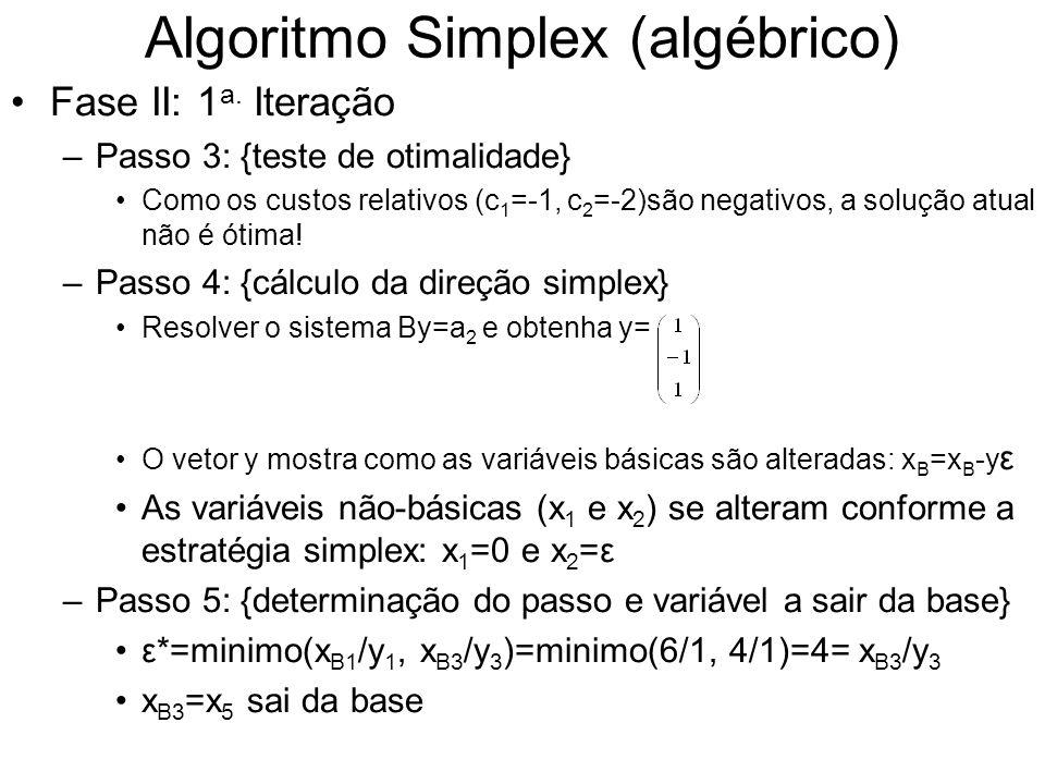Algoritmo Simplex (algébrico) Fase II: 1 a. Iteração –Passo 3: {teste de otimalidade} Como os custos relativos (c 1 =-1, c 2 =-2)são negativos, a solu
