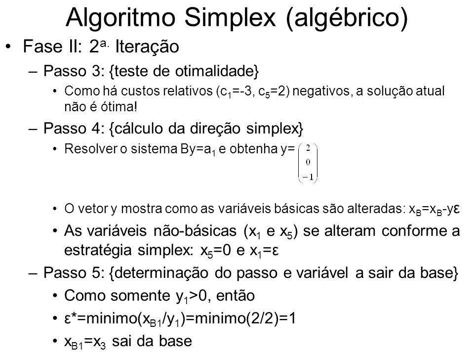 Algoritmo Simplex (algébrico) Fase II: 2 a. Iteração –Passo 3: {teste de otimalidade} Como há custos relativos (c 1 =-3, c 5 =2) negativos, a solução