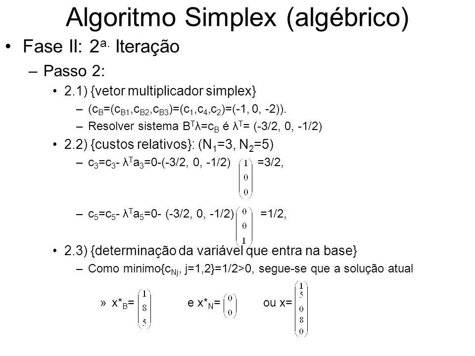 Algoritmo Simplex (algébrico) Fase II: 2 a. Iteração –Passo 2: 2.1) {vetor multiplicador simplex} –(c B =(c B1,c B2,c B3 )=(c 1,c 4,c 2 )=(-1, 0, -2))