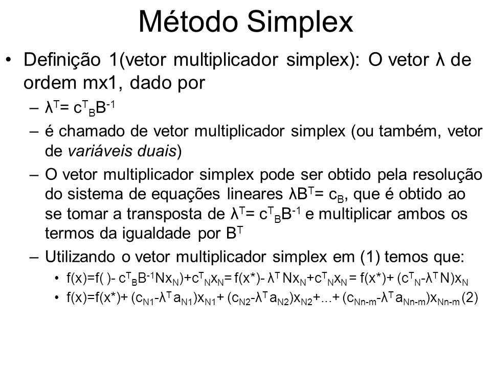 Método Simplex Definição 1(vetor multiplicador simplex): O vetor λ de ordem mx1, dado por –λ T = c T B B -1 –é chamado de vetor multiplicador simplex