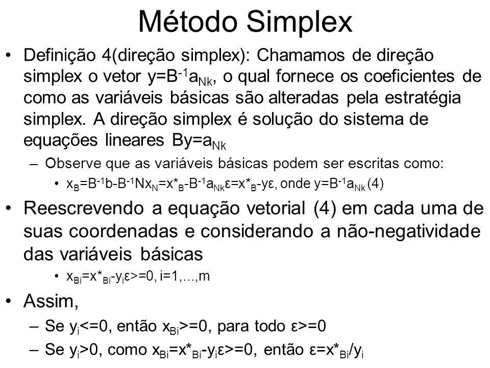 Método Simplex Definição 4(direção simplex): Chamamos de direção simplex o vetor y=B -1 a Nk, o qual fornece os coeficientes de como as variáveis bási